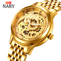Luxury Brand NARY Golden Watches Women automatic mechanical Watch Women Skeleton Rhinestones female Waterproof phoenix watch