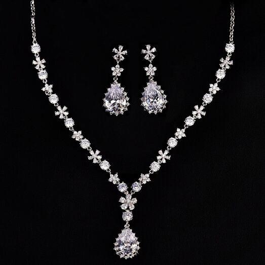 Vintage Bridal Jewelry Sets Women Married Jewelry Set Heart Austrian Crystal Flower TearDrop Bridesmaid Fine Wedding Accessories<br><br>Aliexpress