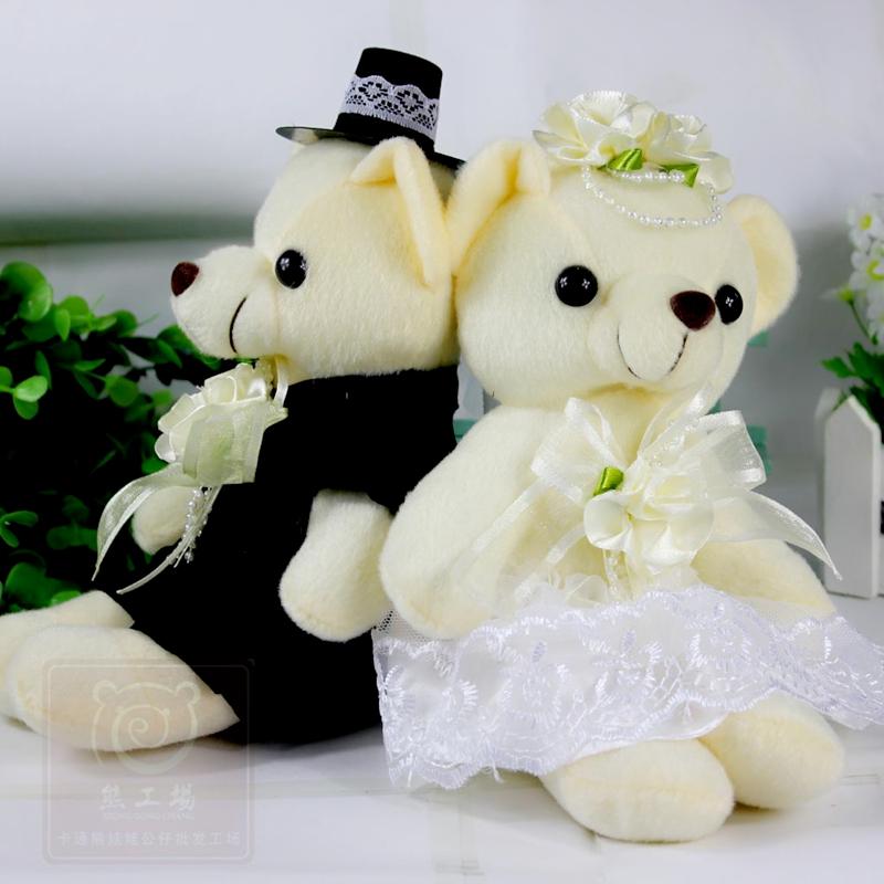 New Arrival 20CM Small Wedding Car Couple Bears, Couple Plush Toys Stuffed Lovely Bears For Wedding, Fluffy Animals Bear Dolls(China (Mainland))