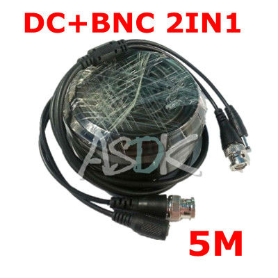 free shipping! 5M DC BNC 2in1 Video Power adapter CCTV camera cable Security System accessories(China (Mainland))