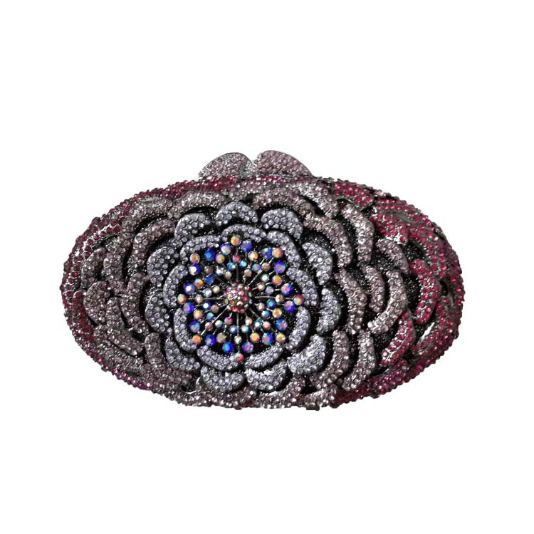 Floral Hard Case Metal Clutch Purse Bridal Clutch Bags for Womens Wedding Prom Dinner Party Luxury Crystal Evening Bags