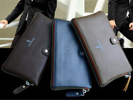 free shipping one ford wallet male business handbags wallet bag phone bag multi-function long hand bag genuine leather and box(China (Mainland))