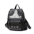 Edgy Washable Leather Backpack Women Fashion Casual Rivet Bag 2016 New Korean Style Designer Drawstring Black