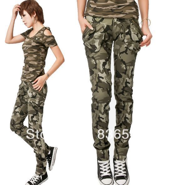 Free Shipping New Hot women camo pants for women, army fatigue cargo pants camouflage skinny jeans for women harem pants(China (Mainland))
