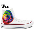 Wen Original Hand Painted Shoes Design Custom Colorful Rose Man Woman s High Top Canvas Sneakers