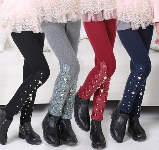 Новый девушка меха штаны детей дети хлопка девушкам цветы брюки 4 цвета