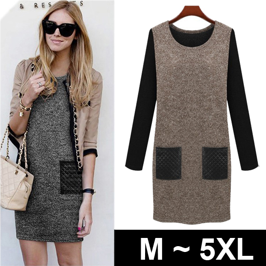 European style elegant plus size women clothing long sleeve coffee black sweater dress dresses casual dress