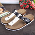 44 bigs plus size Cross genuine leather women s cork sandals 2017 new solid color female