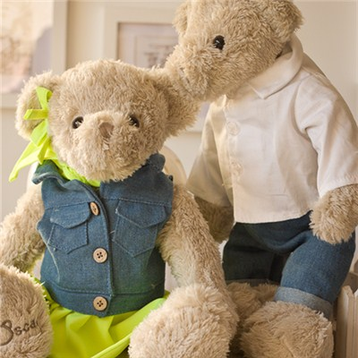 Teddy bear 2pcs/lot Scar denim jacket grey lovers doll dolls plush toy gift<br><br>Aliexpress