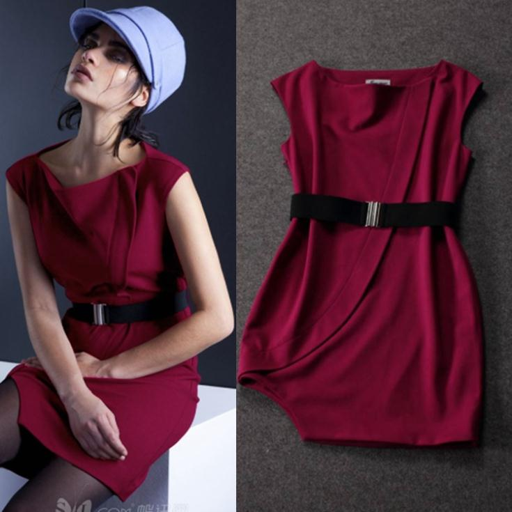 Fast Ship ! 2014 Autumn Fashion New European Magazines Asymmetric Red Wine Dress Sexy With Belt(China (Mainland))