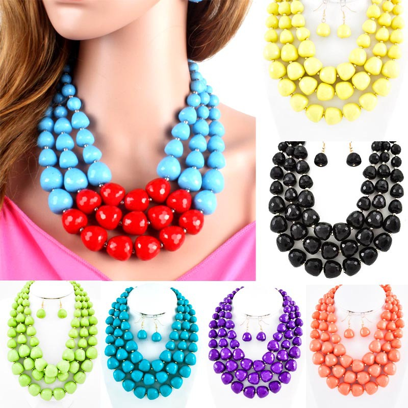 Multi layer necklace new fashion classic statement necklaces acrylic beads chokers women jewelry wedding necklace 14203