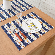 2PCS 32x45cm Cartoon Blue Castle Print Cotton Table Placemat Warm Home Table Mats Store Decoration Photo Prop(China (Mainland))