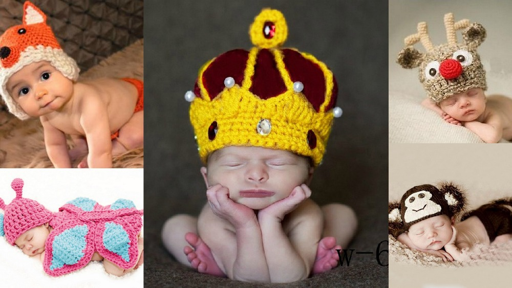 Newborn toddler baby boys girls princes hats caps photos photography costumes crochet outfits knitting props accessories - danda store