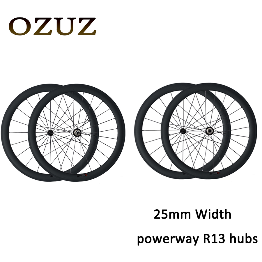 OZUZ Factory Price 700C 25mm width 38mm 50mm 60mm deep Clincher Carbon Wheels Cycling Carbon Road Bike Bicycle Touring Wheels(China (Mainland))