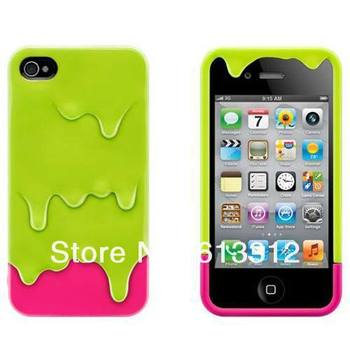 10pcs/lot melt the ice cream phone protective cover green for iphone4/4S Free Shipping