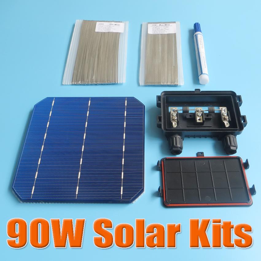 90W DIY Solar Panel Kit 6x6 156 Monocrystalline Mono solar cell tab wire Bus wire Flux pen Junction Box(China (Mainland))