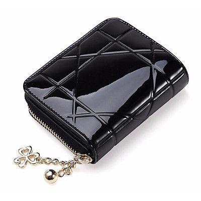 Новый кожаный молнии портмоне чехол женщин короткие мини держатель карточки бумажника ...