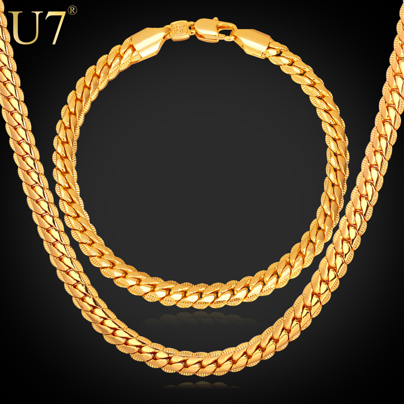 New Trendy 18K Stamp Necklace Set Men Jewelry Wholesale 18K Real Gold Plated Chain Necklace Bracelet African Jewelry Sets S374(China (Mainland))