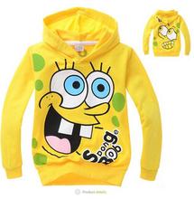 2014 original single children's sweater cartoon Sponge Bob pattern hooded sweater boys and girls sports sweater Free shipping(China (Mainland))