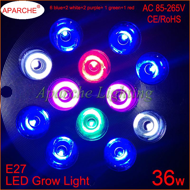 1pcs cree led chips full spectrum led aquarium grow lights e27 36w 5. Black Bedroom Furniture Sets. Home Design Ideas