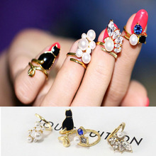 4pcs/set New Blue Crystal Black Cat Simulated-pearl Zircon Nail Rings Women Knuckle Ring MK11230