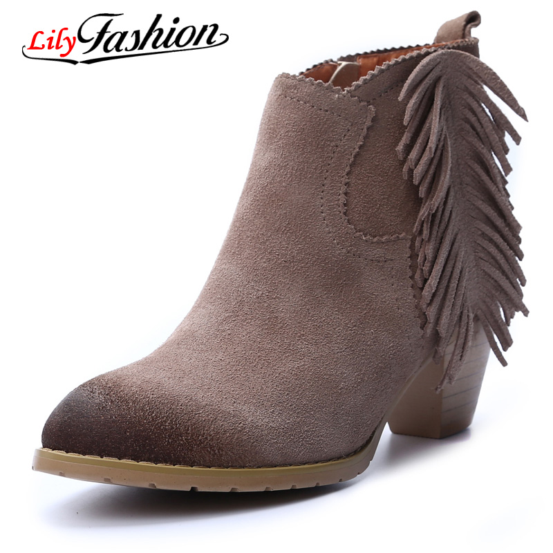 Фотография 2015 New With  leather tassels autumn winters is ms Martin short boots for women