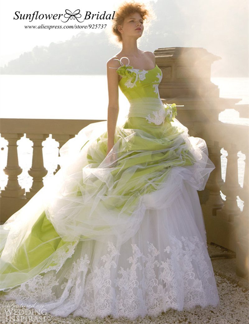 Free Shipping Ball gown One shoulder Appliques Lace lime green wedding dress 2014 plus size wedding dress real sample photo(China (Mainland))