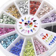 3mm Nail Decoration Stickers Waterdrop Rhinestone 12 Colors DIY Nail Tips Wheel 4QAT