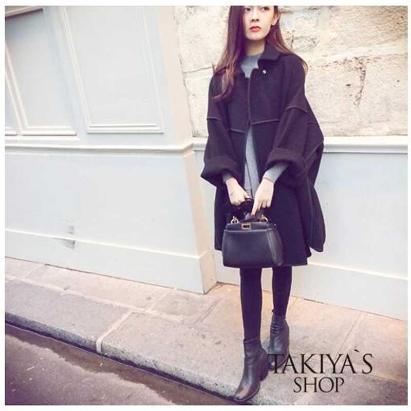 2016 Autumn and Winter Wrapping Cocoon-Shaped Cape-Style Coats Lapel and Long Sections Woolen Coat Coat Large Size Women Coat(China (Mainland))