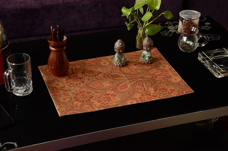 Polyester linen table heat pad, Chinese high-grade jacquard table mat, washable green Place mat(China (Mainland))