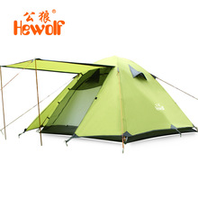 High quality Hewolf 3 person super strong aluminum rod double layer waterproof camping tent