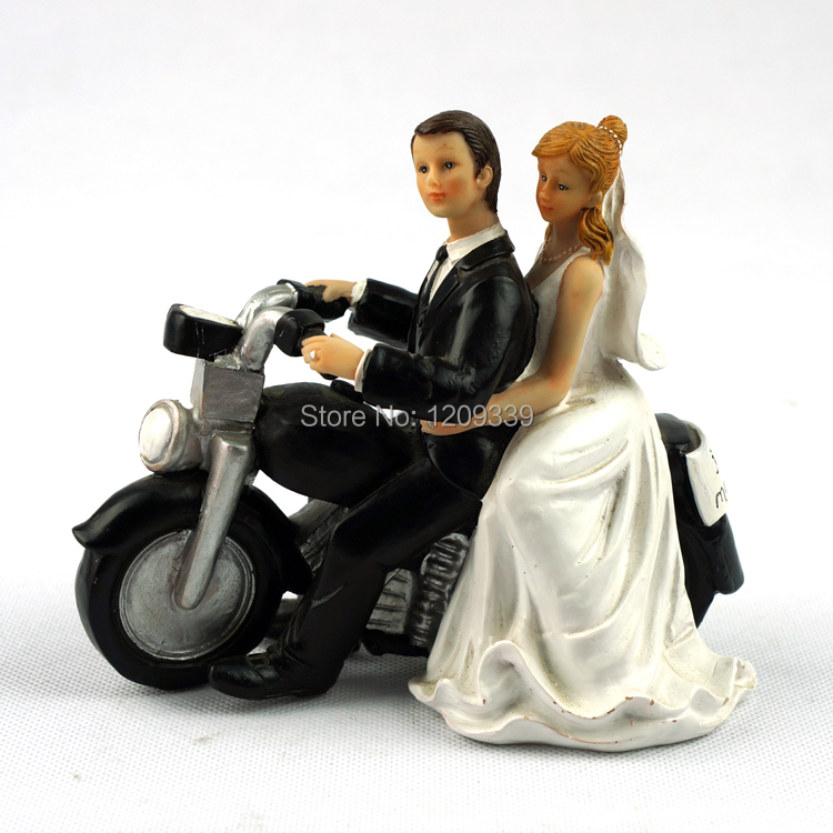 Comical couple figure funny motorcycle wedding couple cake topper
