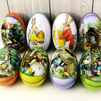 Brand new  8pcs different design 6.3x4.4x5cm Fashion Wedding Supplies Candy Packaging Candy Box Tin trumpet Easter Day EggS