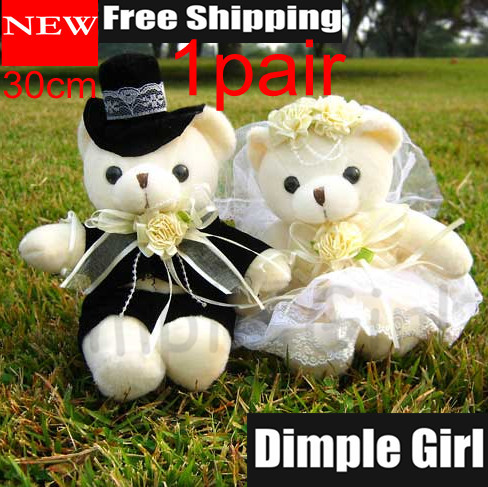 1Pair30cm Little Soft Toy About Marriage Car Decoration Plush Stuffed Animal Small Bear Doll Wedding Gifts For Couple Home Decor(China (Mainland))