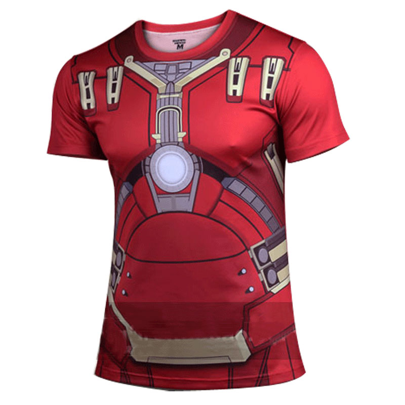 Men Summer Sport Bodybuilding T Shirts Red Iron Man 2 Crack Tight Gym Breathable Quick Dry Fitness Short Sleeve Muscle Armour(China (Mainland))