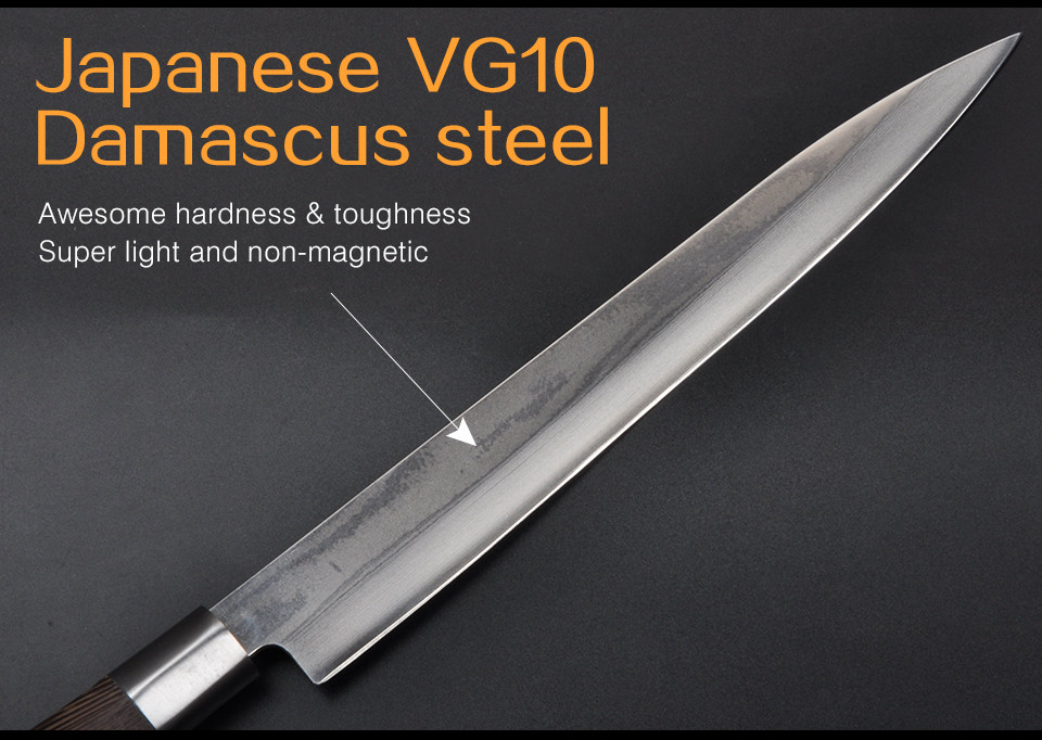 Buy Sushi Knife Japanese 230MM White Steel Damascus VG10 33Layer Sushi Sashimi Slicer Chef Knife Japan free shipping cheap