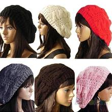 2014 New Fashion Women's Lady Beret Braided Baggy Beanie Crochet Warm Winter Hat Ski Cap Wool Knitted Wholesale 1FXW(China (Mainland))