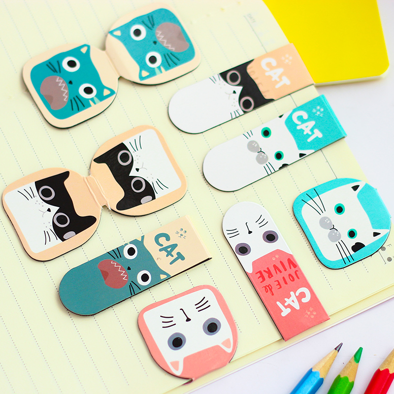 48 pcs/Lot Kawaii cat magnet bookmark Magnetic book mark Stationery Office material School supplies marcador livro 6370(China (Mainland))