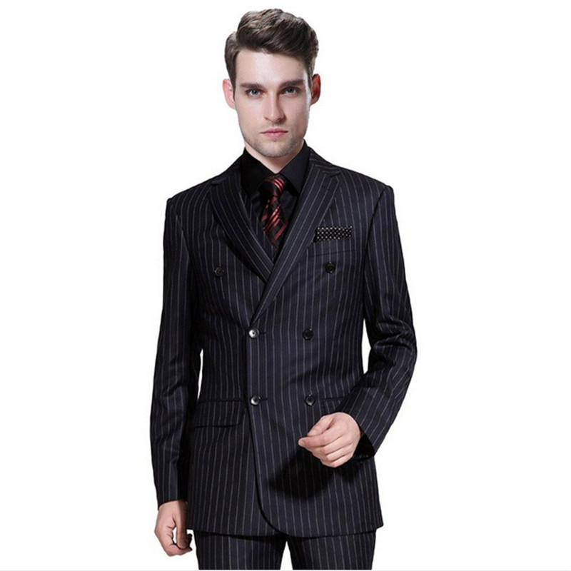 Mens classic pinstripe suit (suit) Business fashionable dress and groom custom-made (coat + vest + trousers)Îäåæäà è àêñåññóàðû<br><br>