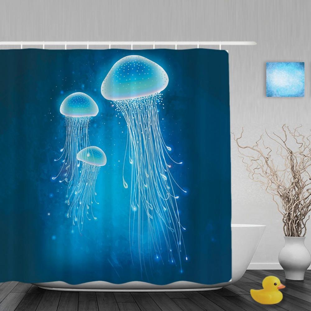 Glowing quallen unterwasser bad duschvorhang meeresbewohner duschvorhänge wasserdichte mehltau polyester stoff mit hakenchina