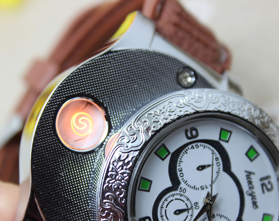 ถูก แฟชั่นชาร์จUSBนาฬิกาผู้ชายบุคลิกภาพความคิดสร้างสรรค์USB windproofเบาบุหรี่อิเล็กทรอนิกส์หนังPUบุรุษรอบนาฬิกาข้อมือ