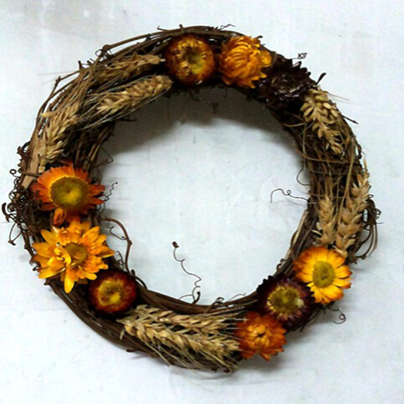 2015 New Crystal Natural Fabric Wedding Home Furniture Decoration Dry Artificial Wheat Daisy Flower Door Garland Orange FL5196(China (Mainland))