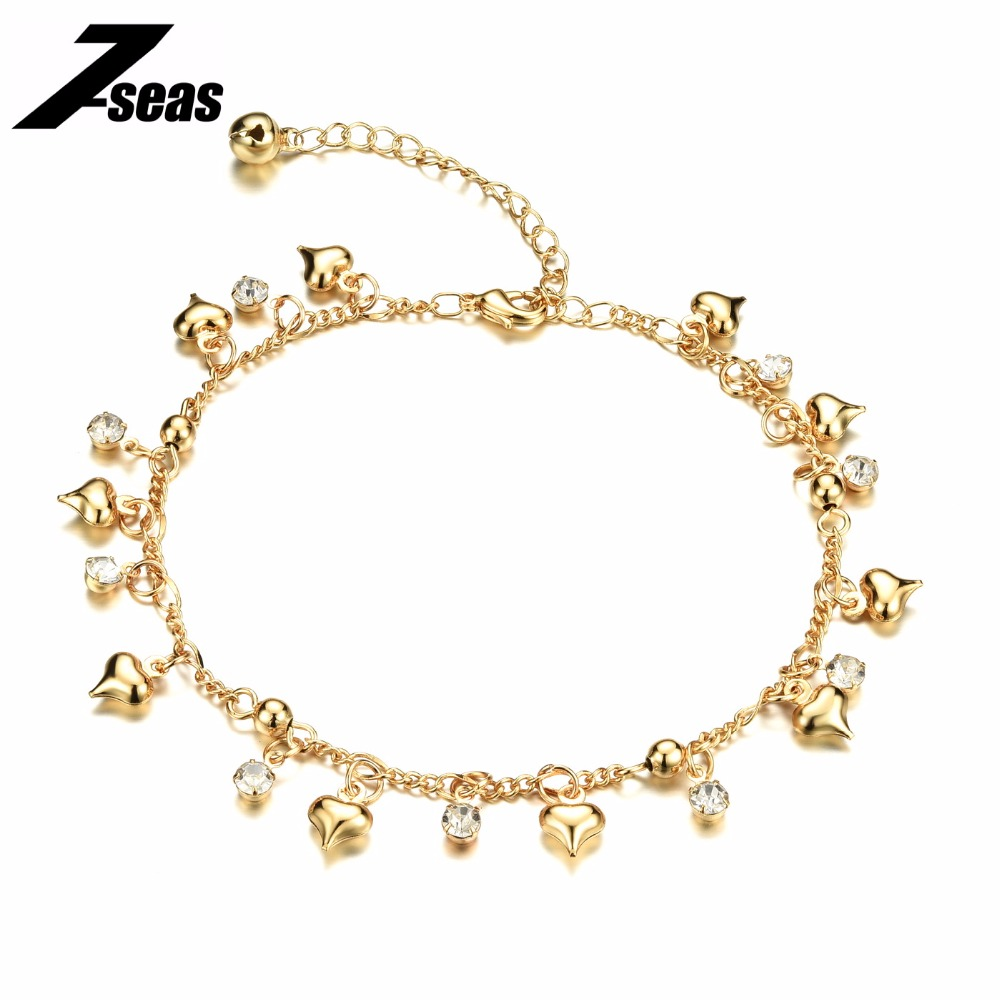 Romantic Heart Design Woman Jewelry Anklets Luxury 18K Gold Plated Cubic Zirconia Women Ankle Bracelet pulseras tobilleras,JM736(China (Mainland))