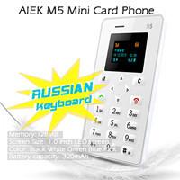 (Russian Keyboard) 4.8mm Ultra Thin AIEK M5 card mobile phone mini pocket students children phone most thin AEKU card phone L#(Hong Kong)