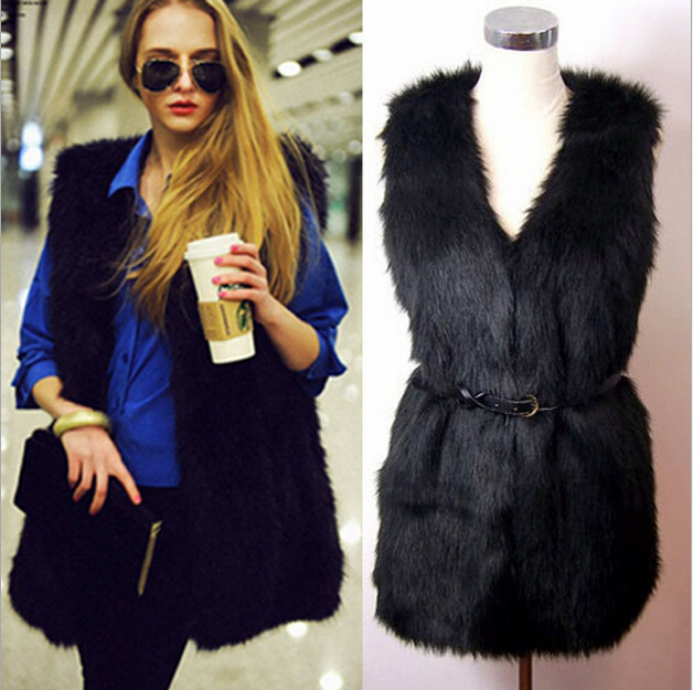 2015 new Chic Lady Faux Fur Vest Winter Autumn Warm Silm Coat Outwear Long Hair Jacket Waistcoat plus size(China (Mainland))