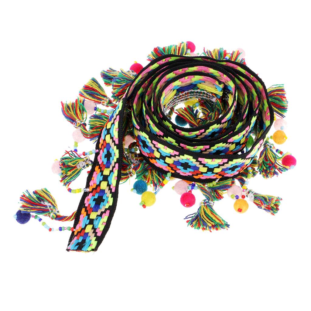 1 Yard Pompom Ball Tassel Fringe Trim Jacquard Ribbon Sewing Appliques Crafts