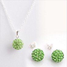 Mode 925 couleur femmes bijoux blanc 10mm balle boucles d'oreilles pendentif collier ensemble de bijoux(China)