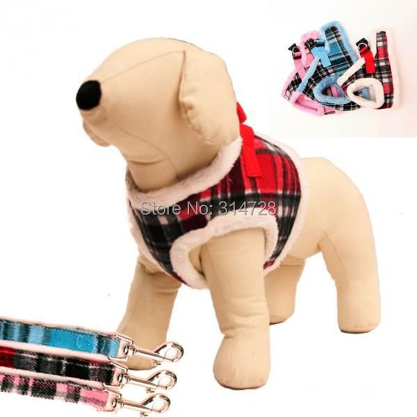 Free shipping new arrival font b tartan b font thermal adjustable winter dog harness dog vest