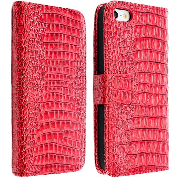 Free Shipping For Apple iPhone 5 5G Crocodile Leather Case with Credit Card Holder(China (Mainland))