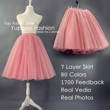 Custom-made 7 Layer Midi Tulle Skirt American Apparel Tutu Skirts Womens Petticoat Elastic Belt 2016 Summer faldas saia jupe(China (Mainland))
